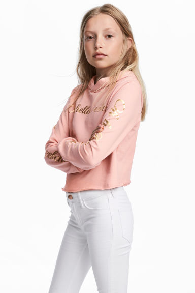 Sweat à capuche court - Rose poudré -  | H&M CH 1