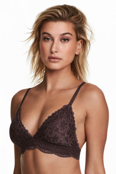 Non-wired lace bra - Brown - Ladies | H&M CN
