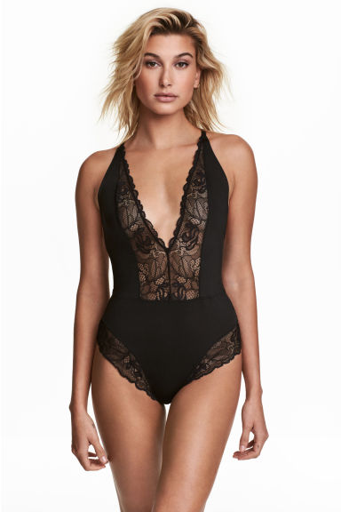 Microfibre and lace body - Black - Ladies | H&M 1
