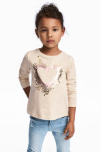 Hooded Sweatshirt with Motif - Light beige - Kids | H&M CA 1