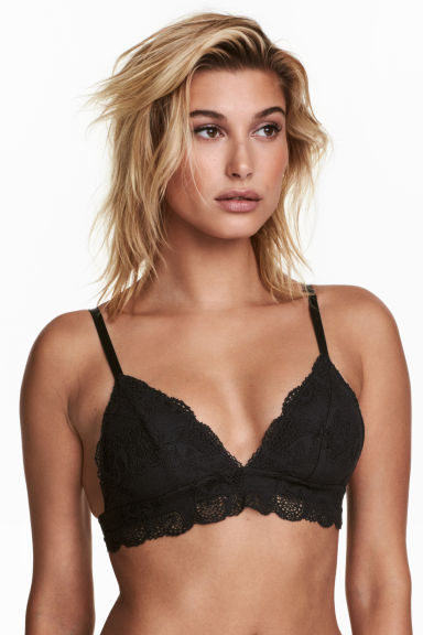 Lace triangle bra - Black -  | H&M 1