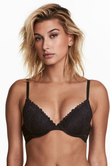 Padded underwired lace bra - Black - Ladies | H&M 1