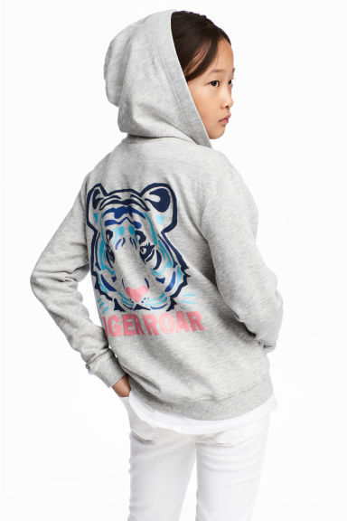 Printed hooded jacket - Grey marl/Tiger - Kids | H&M GB