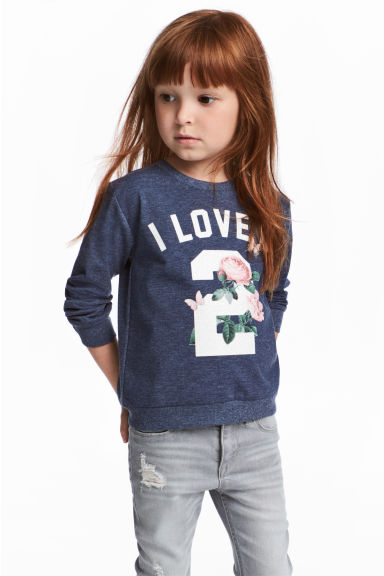 Printed sweatshirt - Dark blue/Roses -  | H&M 1