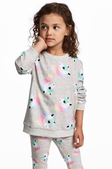 Printed sweatshirt - Grey/Unicorn - Kids | H&M CN 1