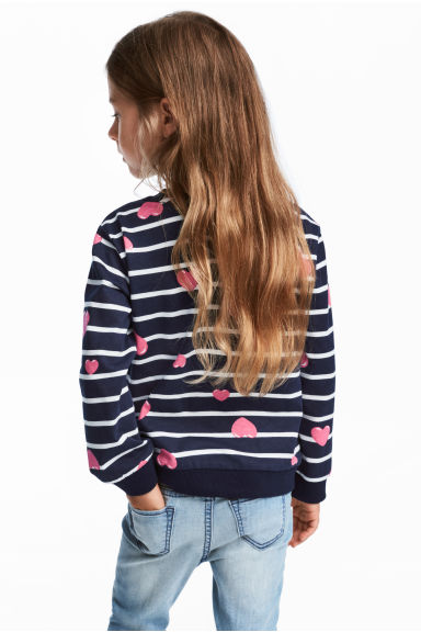 Sweatshirt with Printed Design - Dark blue/hearts - Kids | H&M CA