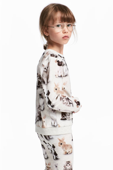 Printed sweatshirt - Light grey/Animals - Kids | H&M CN 1