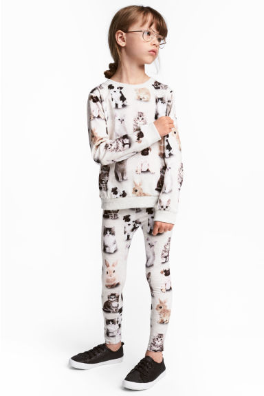 Legging en jersey - Gris/animal - ENFANT | H&M FR