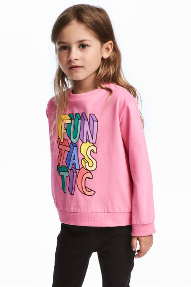 Sweat avec impression - Rose/scintillant - ENFANT | H&M FR 1