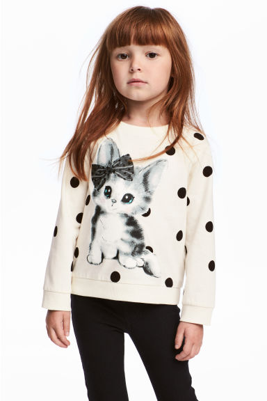 Printed sweatshirt - Natural white/Cat - Kids | H&M