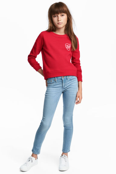 Skinny fit Satin Jeans - Bleu denim clair - ENFANT | H&M CH