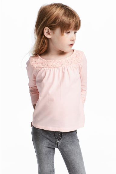 蕾絲平紋上衣 - Light pink - Kids | H&M 1