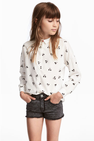 Hemd van viscose - Wit/Mickey Mouse -  | H&M BE