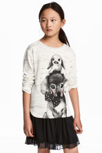 Fine-knit printed jumper - Light grey marl/Animals -  | H&M CN 1
