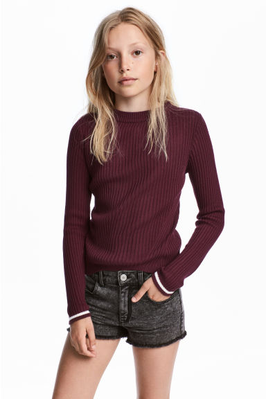 Ribbed jumper - Burgundy - Kids | H&M