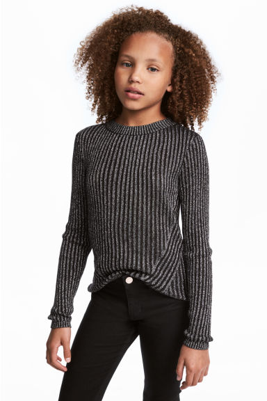 Rib-knit Sweater - Black/glittery - Kids | H&M CA 1