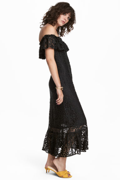 Off-the-shoulder lace dress - Black -  | H&M CN