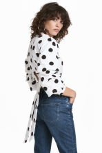 後綁帶上衣 - White/Black spotted - Ladies | H&M 1