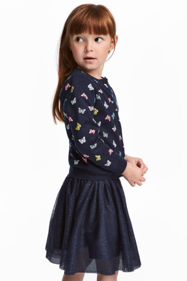 Cotton cardigan - Dark blue/Butterflies -  | H&M 1