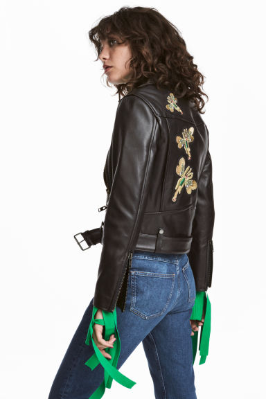 Leather biker jacket Model