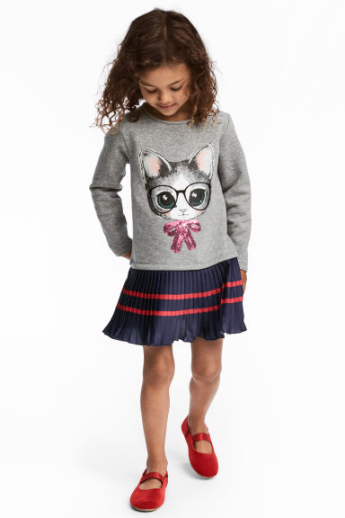 Dress with a print motif - Grey/Cat - Kids | H&M CN