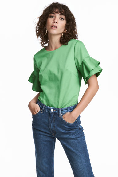 Cotton top - Green - Ladies | H&M