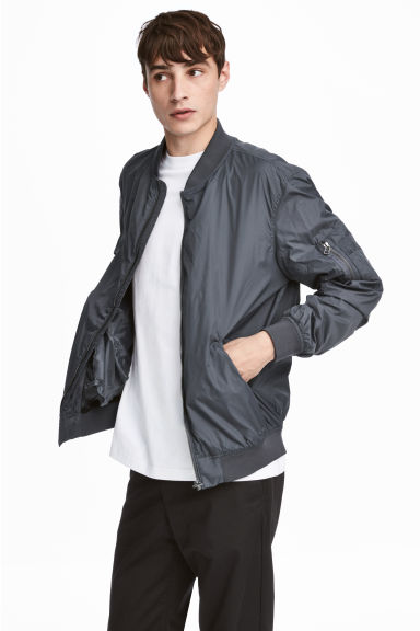Nylon bomber jacket - Dark grey - Men | H&M 1