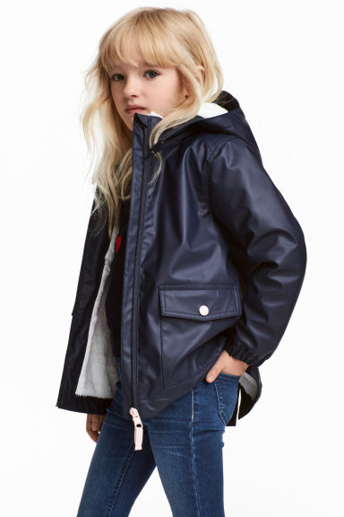 Pile-lined rain jacket - Dark blue - Kids | H&M CN 1