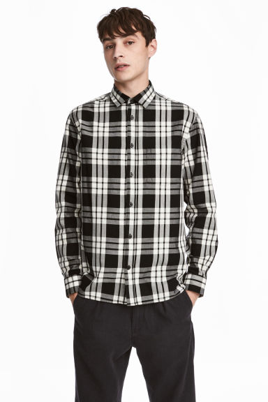 Cotton shirt Regular fit - White/Black checked - Men | H&M