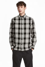 Cotton shirt Regular fit - White/Black checked - Men | H&M 1