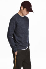 Fine-knit cotton jumper - Dark blue marl - Men | H&M 1