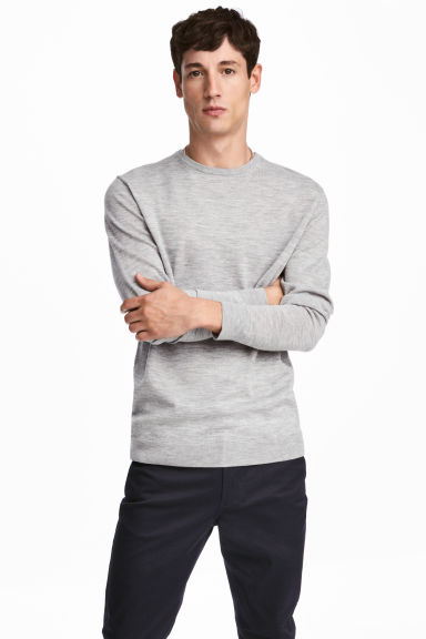 Merino wool jumper - Grey marl -  | H&M 1