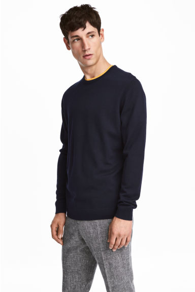 Merino wool jumper - Dark blue - Men | H&M CA 1