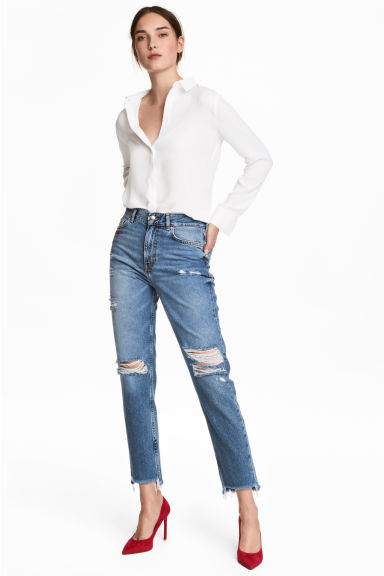 Straight Regular Jeans - Bleu denim/Girls bite - FEMME | H&M FR