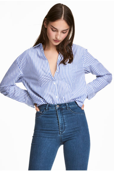 Wide cotton shirt - Blue/white striped - Ladies | H&M IE