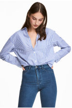 Wide cotton shirt - Blue/white striped - Ladies | H&M 1