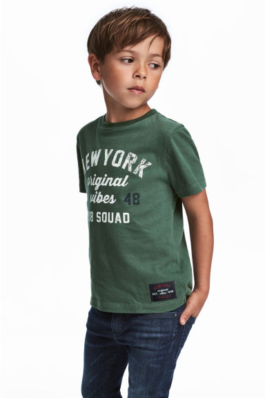 T-shirt avec impression - Vert/New York -  | H&M FR 1
