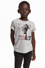 T-shirt with a print motif - Grey marl - Kids | H&M 1