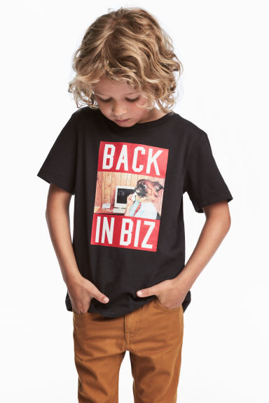 T-shirt with a print motif - Black - Kids | H&M CN 1
