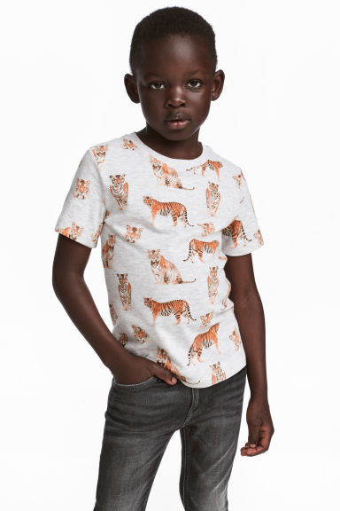 Printed T-shirt - Light grey - Kids | H&M 1