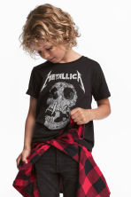 圖案T恤 - Black/Metallica - Kids | H&M 1