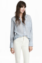 Airy cotton shirt - White/Blue striped - Ladies | H&M IE 1