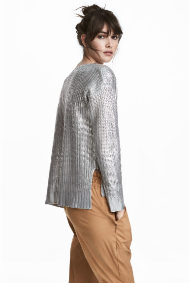 Shimmering metallic jumper - Silver-coloured - Ladies | H&M 1