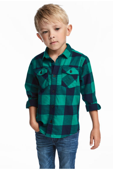 法蘭絨襯衫 - Green/Checked -  | H&M 1