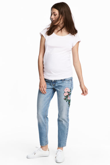 MAMA Slim Ankle Jeans - Light denim blue/Flowers - Ladies | H&M 1