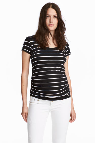MAMA Cotton jersey top - Black/White striped - Ladies | H&M