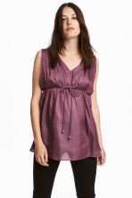 MAMA V-neck Satin Top - Plum - Ladies | H&M CA 1