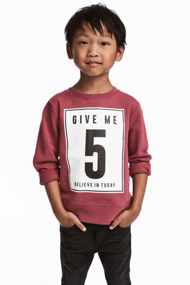 Printed sweatshirt - Burgundy - Kids | H&M 1
