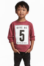 Printed sweatshirt - Burgundy -  | H&M 1