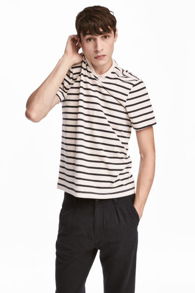 Round-neck T-shirt Regular fit - Light beige/Striped - Men | H&M CA 1
